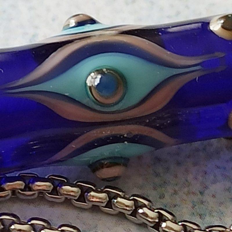 Perle tube bleu cobalt